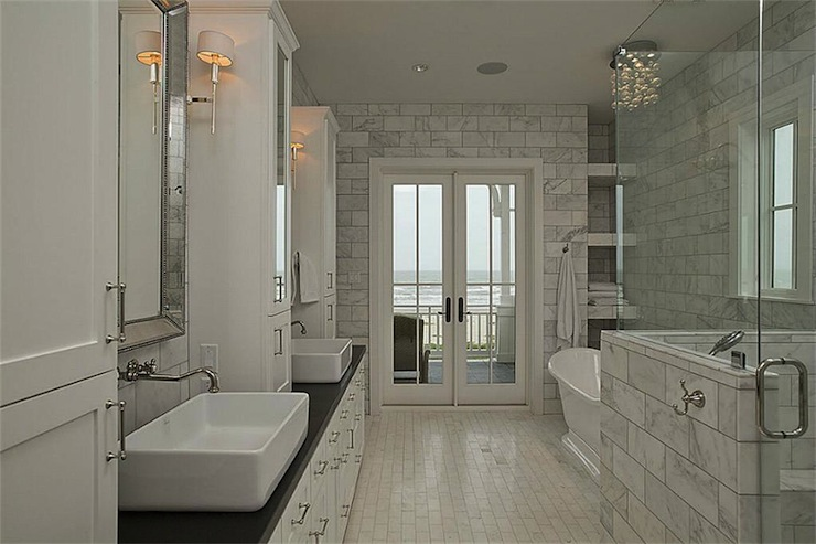 Venetian Beaded Mirror Transitional Bathroom