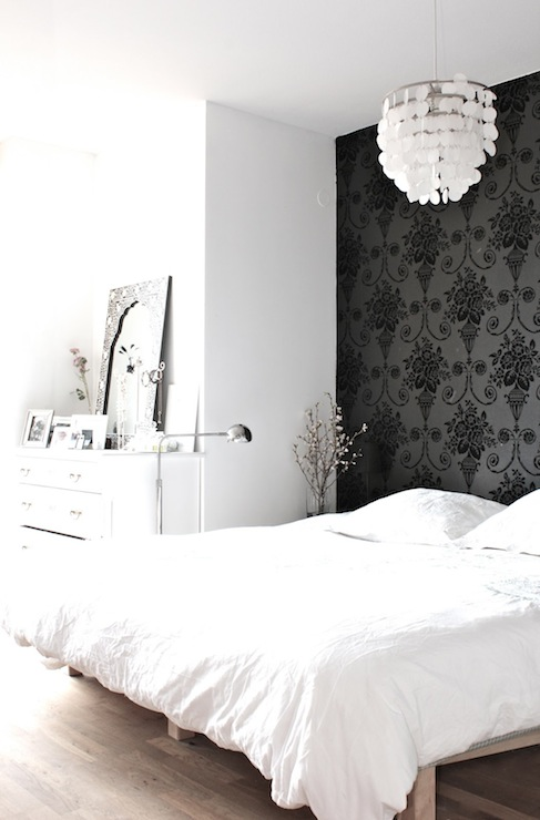 Wallpaper accent wall transitional bedroom my for Black and white wallpaper for bedroom
