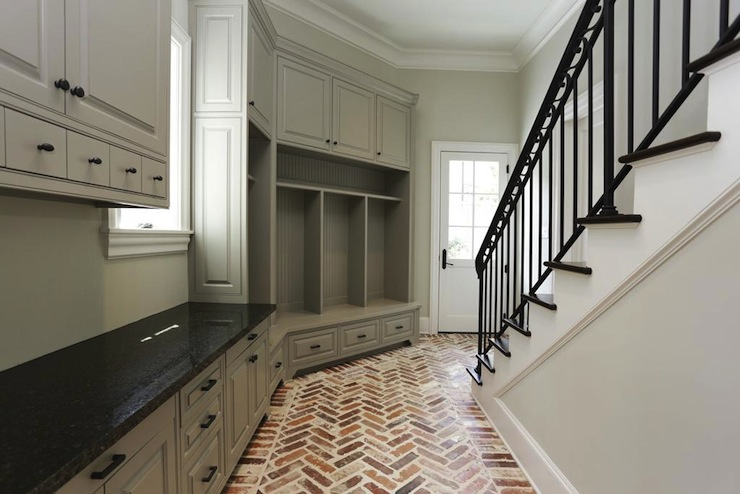 Brick herringbone floor transitional laundry room har Mudroom floor