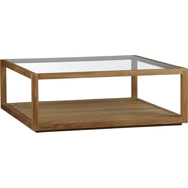 8fb60f4bc2f99 Wood Frame Glass Top Square Coffee Table
