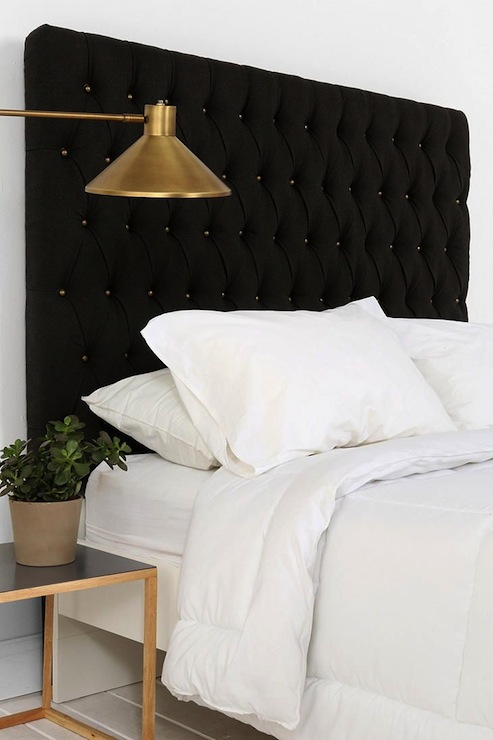 Amazing Gold And Black Bedroom Features Headboard With Brass Tacks Urban Outfitters Elliot Button Next To Antique Swing Arm