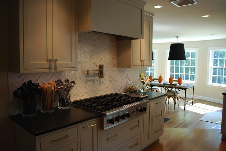 Marble Herringbone Backsplash Contemporary Kitchen