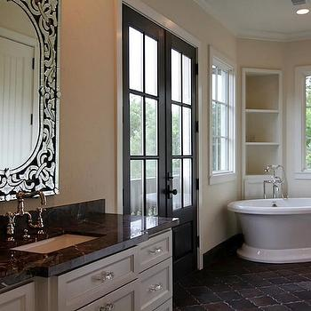 Arabesque Tile Floor, Mediterranean, bathroom, HAR