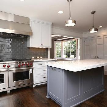 White Kitchen Grey Island white kitchen cabinets grey backsplash design ideas