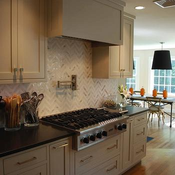 Marble Herringbone Backsplash, Contemporary, kitchen, Venegas and Company