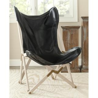butterfly black bicast leather folding chair