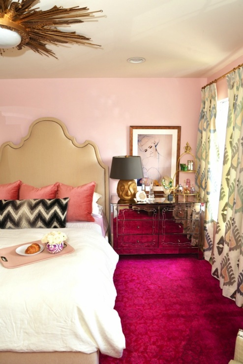 Pink Bedroom With Tan Headboard Accented With Nailhead Trim With Pink  Velvet Pillows And Black And White Chevron Lumbar Pillow Next To Art On Pink  Walls ...