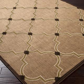 Woven Tan Indoor Outdoor Moroccan Lattice Rug