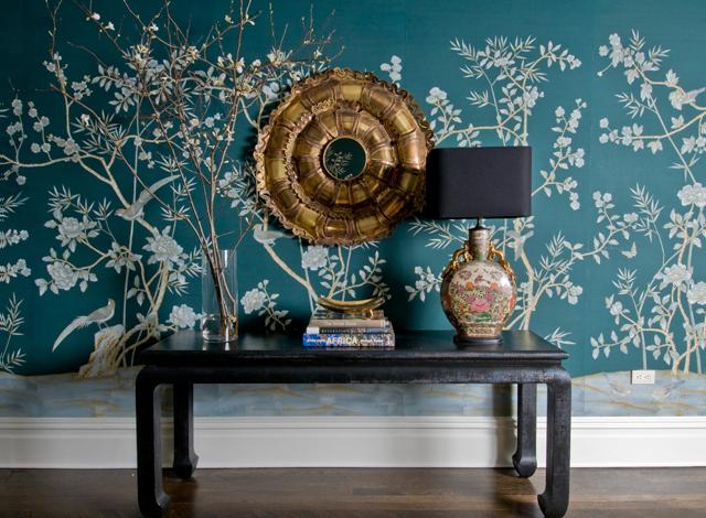 Peacock Blue Wallpaper - Eclectic - entrance/foyer - MMR Interiors