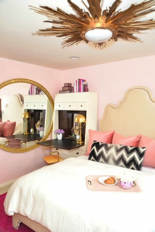 White and gold bedrooms transitional bedroom for Bedroom designs pink and black