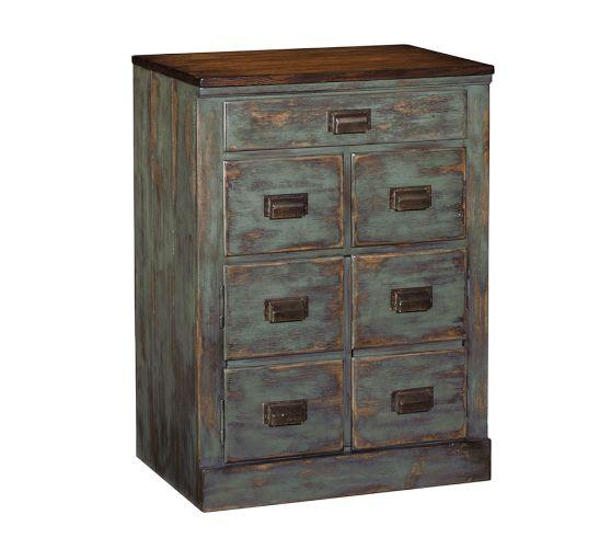 Vintage Style Distressed Blue Clerks Filing Cabinet