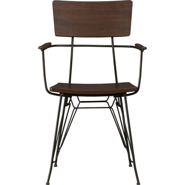 Awesome Industrial Metal Frame Wood Seat Arm Chair