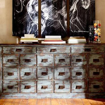 Superieur Vintage Style Distressed Blue Clerks Console Table