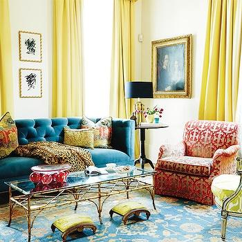 Yellow Curtains, Eclectic, living room, MMR Interiors