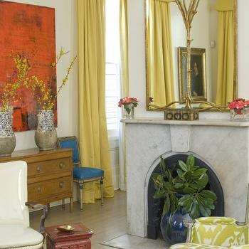 Yellow Valance, Eclectic, living room, MMR Interiors