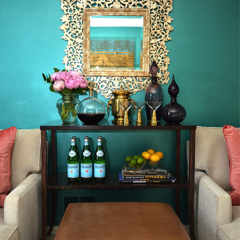 Teal Walls, Eclectic, living room, Dalliance Design