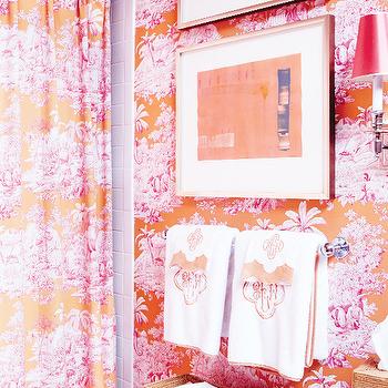 Toile Wallpaper, Eclectic, bathroom, MMR Interiors