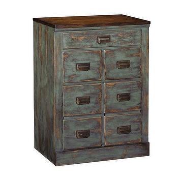 Vintage Style Distressed Blue Clerks Filing Cabinet