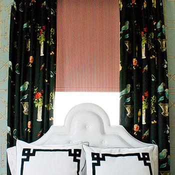 Greek Key Curtains Contemporary Bedroom