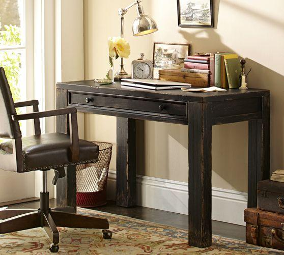 Distressed Black Small Desk