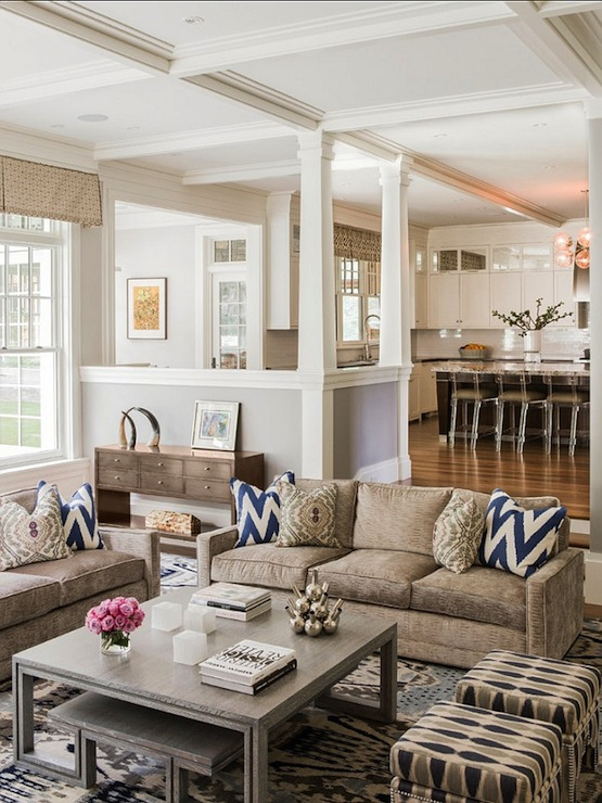 Living room with neutral tones transitional living room morgan harrison home - Open living room ideas ...