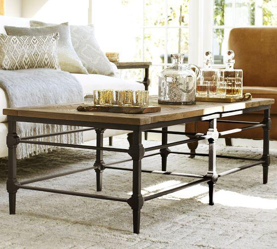 Reclaimed Wood Top Industrial Cast Iron Base Coffee Table