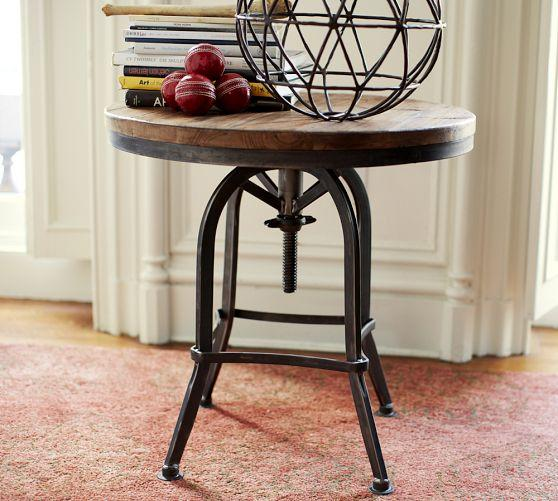 High Quality Wood Top Iron Base Weldon Side Table