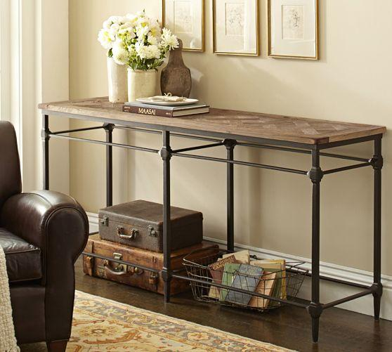 Reclaimed Wood Top Industrial Cast Iron Base Console Table