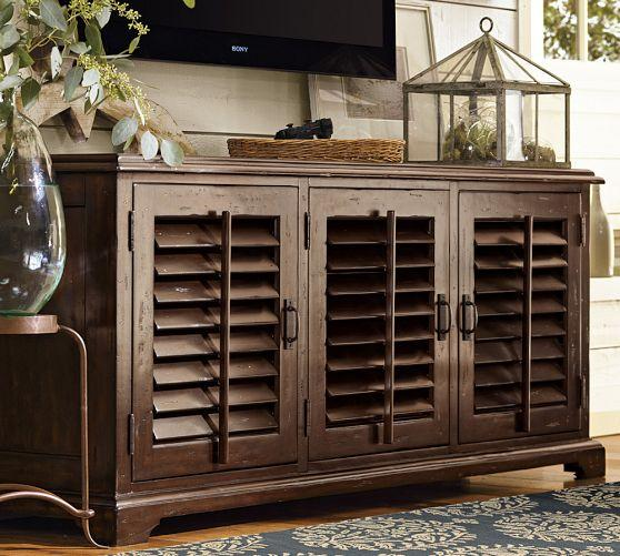 Brown Stained Wood Shutter Doors Large Media Console