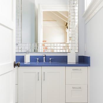 Blue Countertops, Contemporary, bathroom, Jill Litner Kaplan Interiors