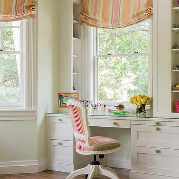Kids Built In Desk, Traditional, girl's room, Jill Litner Kaplan Interiors