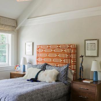 Orange Geometric Headboard, Contemporary, boy's room, Jill Litner Kaplan Interiors