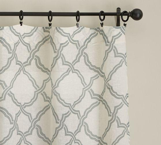 Gray Trellis Pattern Sheer White Drape