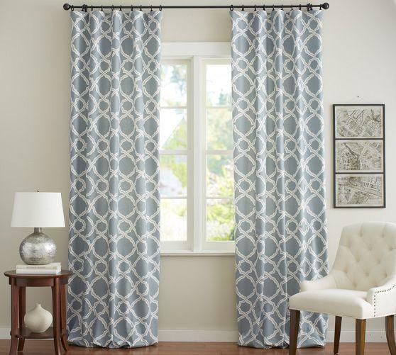 Blue And White Trellis Drapes