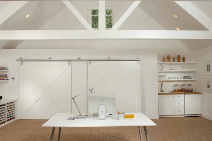 Office with Barn Door  Contemporary  kitchen  Tiffany Farha Design