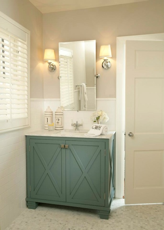 Teal vanity contemporary bathroom tiffany farha design - Bathroom color schemes brown and teal ...