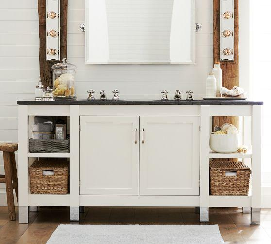 Black limestone top white double sink console for Bathroom consoles and vanities