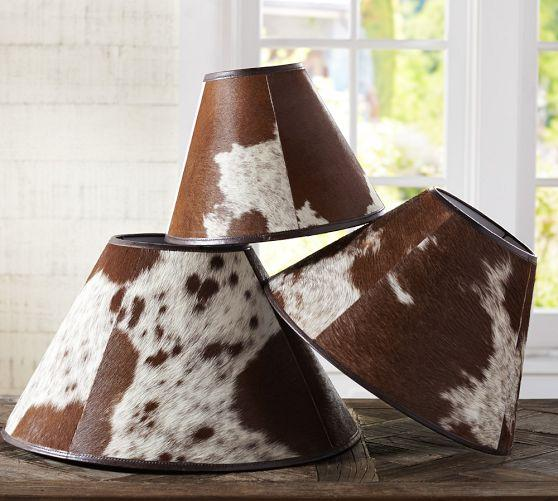 and White Cowhide Lamp Shade