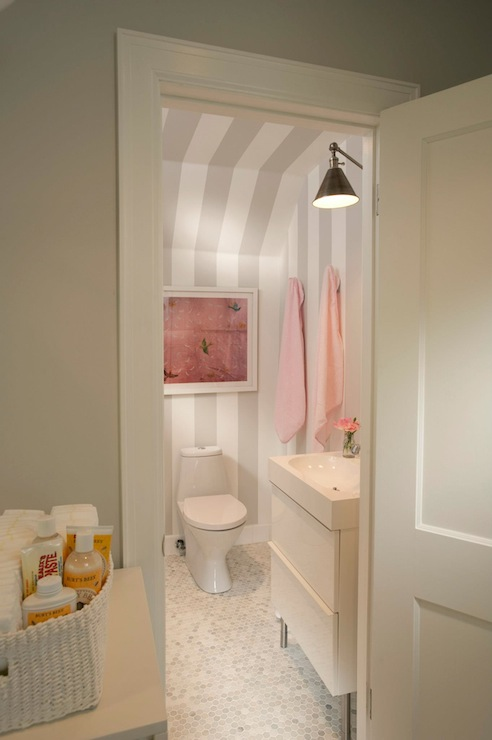 Gray bathroom with pink accents transitional bathroom for Pink and grey bathroom decor