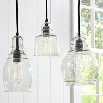 Black fabric chords blown glass 8 light hanging pendant for Farmhouse pendant lighting kitchen