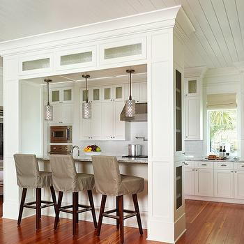 Gray Slipcovered Bar Stools, Cottage, kitchen, Structures Building Company