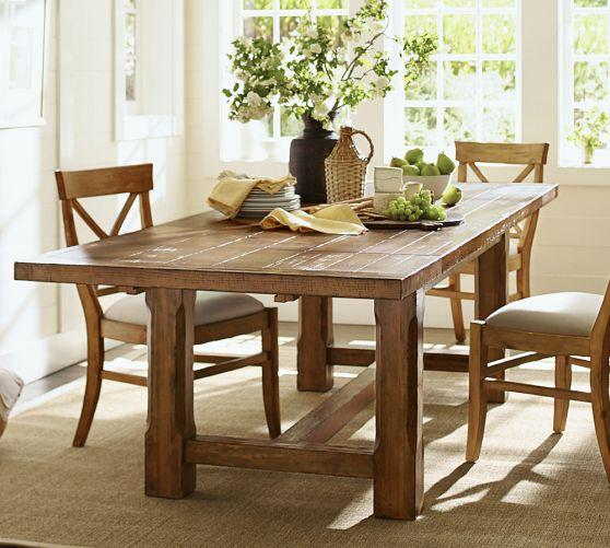 Farmhouse style pine wood extending dining table for Farmhouse style dining set