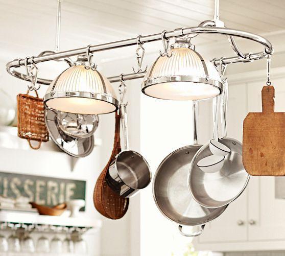 Polished nickel sawyer pot rack pendant mozeypictures Gallery