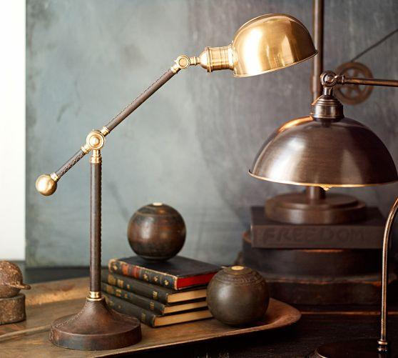 Brown leather wrapped brass task table lamp adjustabe brown leather wrapped brass task table lamp aloadofball Gallery