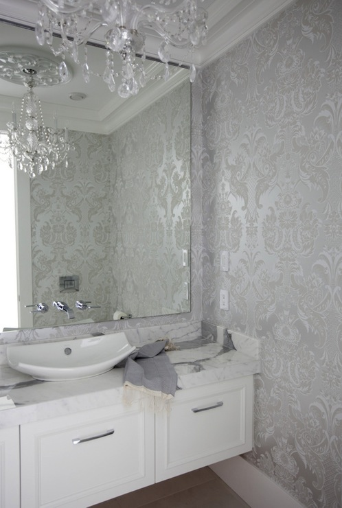 Silver Damask Wallpaper Contemporary Bathroom The