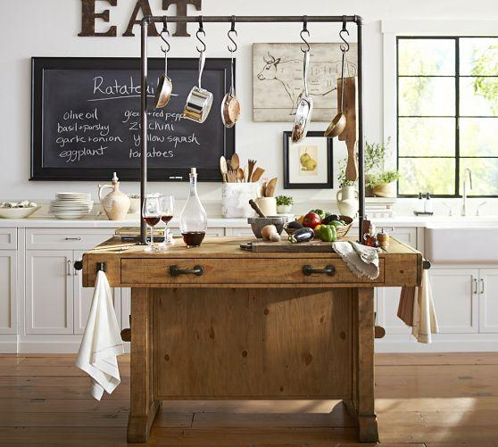 Pan Storage Pine Wood Kitchen Island