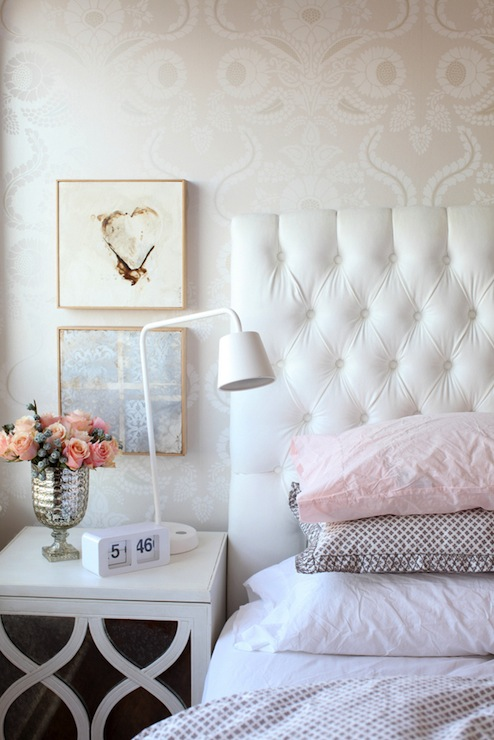 White Velvet Headboard Transitional Bedroom The