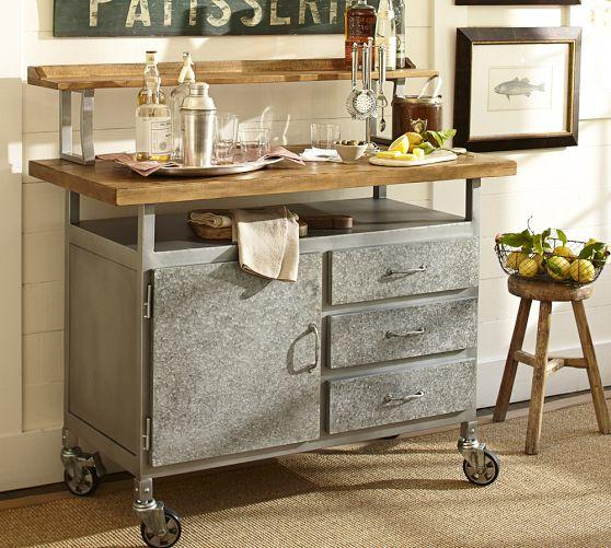 Great Industrial Style Steel And Wood Table Cart