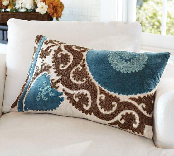 Embroidered Throw Pillows Pottery Barn : Suzani Applique Embroidered Blue and Brown Lumbar Pillow Cover