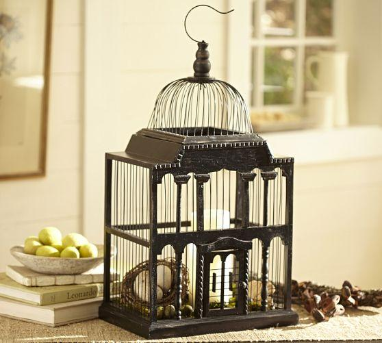 Set Of Three Round Metal Bird Cage Planters With Rustic Finish